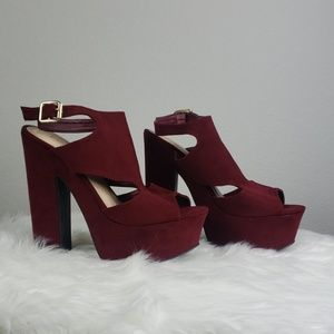 Charlotte Russe suede stacked chunky heel sandal